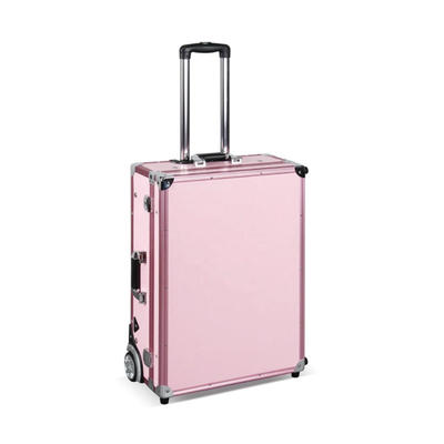 Large rolling makeup station pink trolley case with light mirror