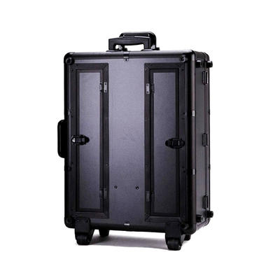 New style professional hard aluminum cosmetic trolley case with light on wheel  beauty case trolley