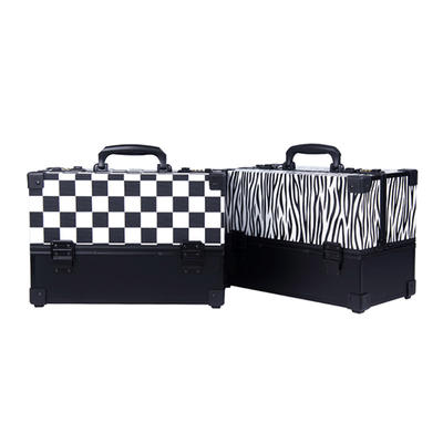 Stripes custom logo beauty industry cosmetic hand carrying make up professional case